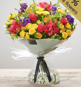 Extra Large 'Very Vibrant' Hand-tied, fresh flower bouquet available online and instore - Featuring a cerise large headed rose, cerise alstroemeria, orange asclepia, purple lisianthus and yellow spray roses with pistache, hand-tied. (Code: M53520MO)